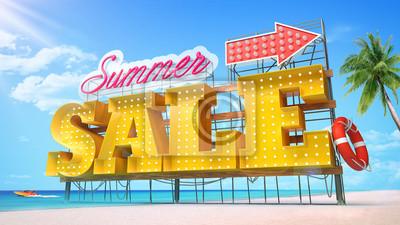 Sprzedaży latem. Żółte dużych liter stojących na plaży