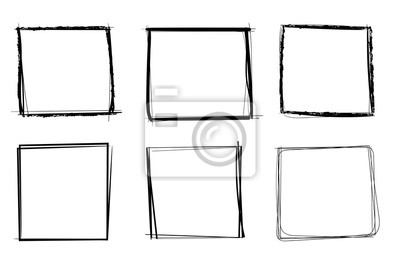 Plakat Squares. Hand drawn shapes. Doodle style
