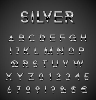 Plakat Srebrny zestaw alfabetu