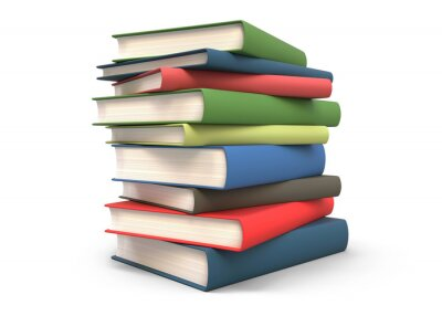 Plakat Stack of books isolated 3d rendering