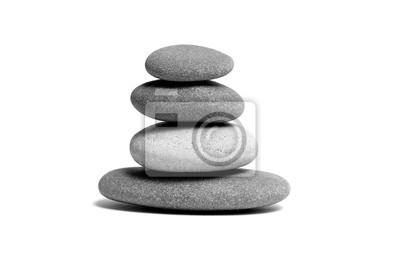 Plakat Stacked smooth grey stones. Sea pebble. Balancing pebbles isolated on white background