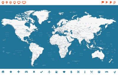 Plakat Stal Niebieski Mapa świata i nawigacji ikony - illustration.Highly szczegółowej mapie świata: państwa, miasta, obiekty wodne.