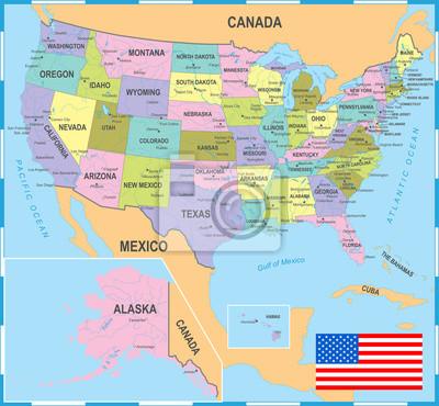 Stany Zjednoczone Kolorowa Mapa - Ilustracji Wektorowych