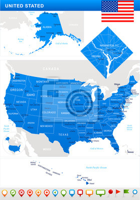 Stany Zjednoczone - mapa, flagi i ikony nawigacji - ilustracja