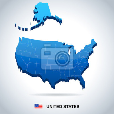 Stany Zjednoczone - mapa i flaga - ilustracja