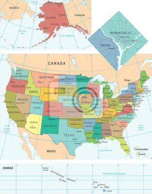 Stany Zjednoczone Mapa - Ilustracji Wektorowych