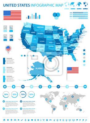Stany Zjednoczone - mapa infograficzna i flaga - ilustracja