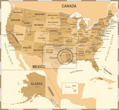 Stany Zjednoczone Mapa - Vintage Ilustracji Wektorowych
