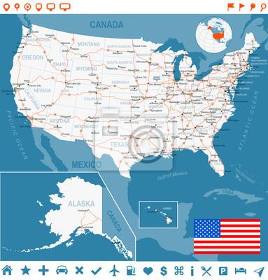 Stany Zjednoczone, Stany Zjednoczone mapa. Bardzo szczegó? Owe illustration.Image zawiera warstwy z konturami gruntów, kraju i nazwy gruntów, nazwy miast, nazw obiektów wodnych, flagi, ikony nawigacji
