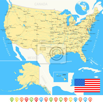 Plakat Stany Zjednoczone, Stany Zjednoczone mapa, flaga, ikony nawigacyjne, drogi, rzeki. Bardzo szczegółowe ilustracji wektorowych.