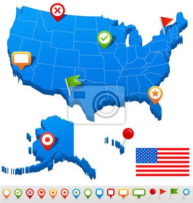 Stany Zjednoczone (USA) map i nawigacji ikony - Illustration.Vector ilustracji USA map i nawigacji ikon.