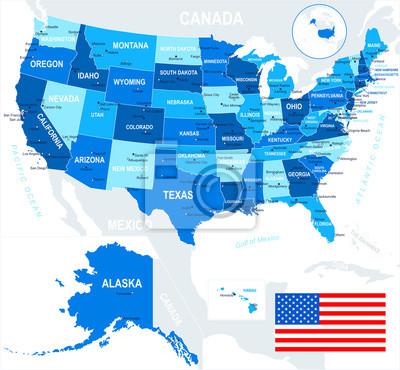 Stany Zjednoczone (USA) - mapy i flagi - ilustracji. Mapa i flaga USA - bardzo szczegółowe ilustracji wektorowych.