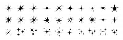 Plakat Star icons. Twinkling stars. Sparkles, shining burst. Christmas vector symbols isolated