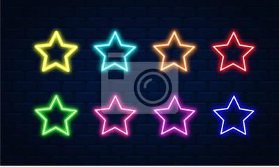 Plakat Star neon vector set. Star neon icon. Star neon symbol.Star neon led electric