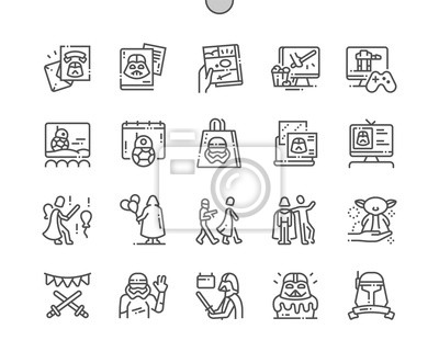 Plakat Star Wars Day Well-crafted Pixel Perfect Vector Thin Line Icons 30 2x Grid for Web Graphics and Apps. Simple Minimal Pictogram