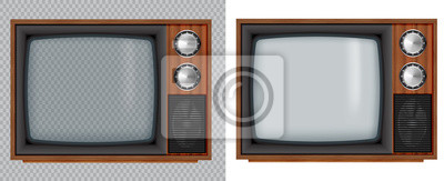 Plakat Stara drewniana telewizja. Wektorowa retro telewizja egzamin próbny up z przejrzystym szklanym ekranem odizolowywa na białym i przejrzystym tle.