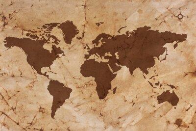 Plakat Stara mapa świata na pogniecione i poplamione pergaminie