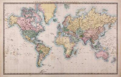 Plakat Stare antyczne mapy świata na projekcję Mercators