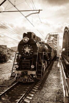 Plakat stare lokomotywy parowe w Rosji czarny