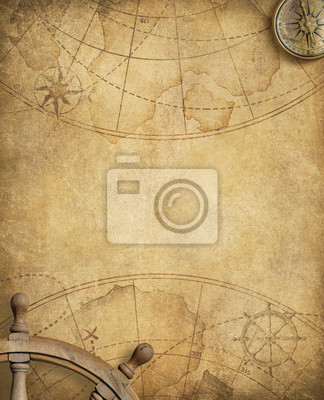 Plakat stare mapy morskie z kołem kierownicy i kompasu