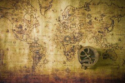 Plakat stare mapy z kompasem