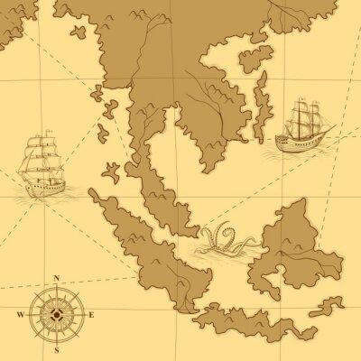 Plakat stare mapy z kompasem i statków
