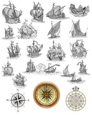 Plakat Stare piratem mapa ikony