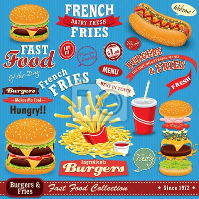 Stare plakaty Fast Food scenografia