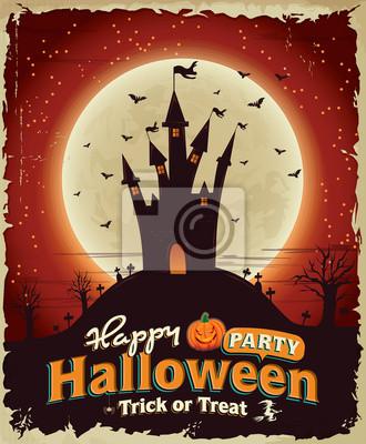Stare plakaty Halloween scenografia z zamku
