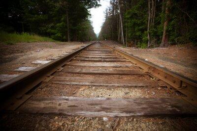 Plakat Stare tory kolejowe z rocznika efekt tekstury