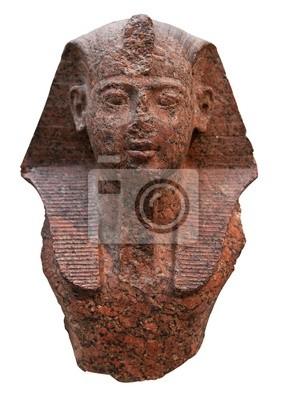 Plakat Starożytna faraon głowa w czerwonego granitu