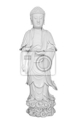 Plakat Starożytna figura porcelany z azjatyckimi buddy na białym wi