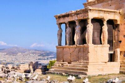 Plakat Starożytna Ganek kariatydy widokiem Ateny