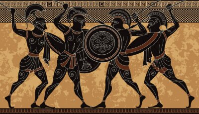 Plakat Starożytna grecka scena banner.Hero, spartanin, mit. Starożytna kultura cywilizacji.