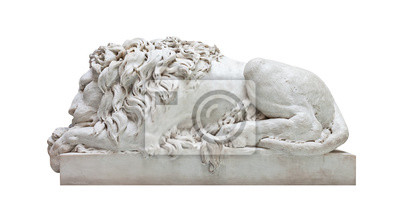 Plakat Starożytna marmurowy posąg mężczyzny lwa na białym