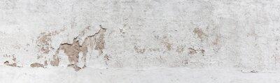 Plakat Starożytna ściana z łuszczącym się tynkiem. Stara betonowa ściana, panoramiczny textured tło