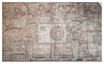 Plakat Starożytna ulga asyryjskich uskrzydlonych bogów i łuczników