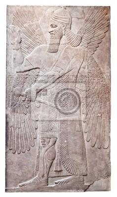 Plakat Starożytna ulga asyryjskiego skrzydlatego boga