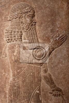 Plakat Starożytna ulga gliny asyryjskiego króla