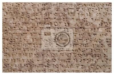 Plakat Starożytny assyrian gliny tablet piśmie klinowym