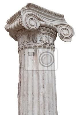 Plakat Starożytny grecki jonowych kolumny na białym tle