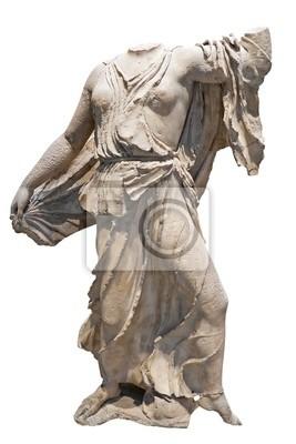 Plakat Starożytny grecki marmurowy posąg kobiety lub bogini samodzielnie na w.