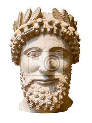 Plakat Starożytny grecki posąg brodatego mężczyzny samodzielnie na białym tle