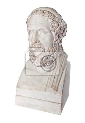 Plakat Starożytny grecki posąg wielkiego poety Homera na białym