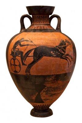 Plakat Starożytny grecki Wazon przedstawiająca rydwan samodzielnie na białym tle