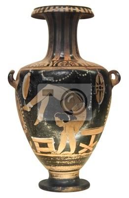 Plakat Starożytny grecki Wazon przedstawiający gimnastyczka samodzielnie na biały