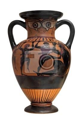 Plakat Starożytny grecki Wazon przedstawiających Ulysses walczyć cyclop isolat