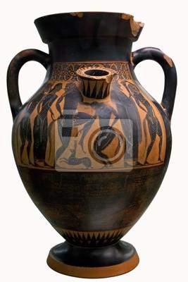 Plakat Starożytny grecki Wazon w kolorze czarnym nad czerwonym ceramiczne