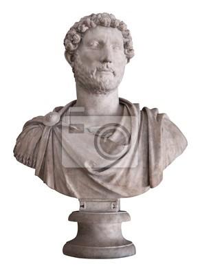 Plakat Starożytny marmurowe popiersie rzymskiego cesarza Hadriana samodzielnie na whi