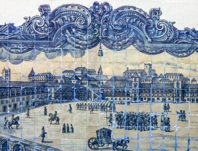 Plakat Starożytny płytki ceramiczne, Azulejo Muzeum, Lizbona, Portugalia.